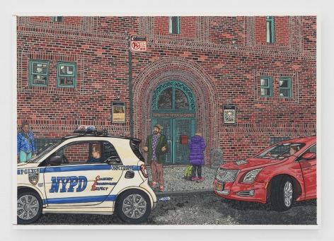 The brick exterior of Anthology Film Archives in NYC, with a small NYPD car and red cadillac parked on the sidewalk. Two figures stand in front of the Archives' green door.