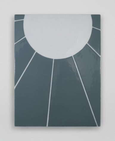 An enamel painting with a grey-blue background, a semi-circle at the top in white with 7 lines radiating from it