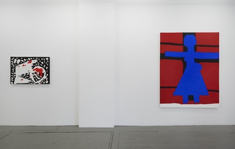 "A photograph of two paintings on the right wall of the gallery: ""Nature"" on the left, and ""Crucifixion"" on the right."