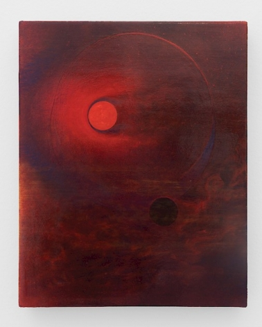 A painting on canvas with a central red circle, and a darker circle beneath it, at right. The canvas is predominantly red, maroon, and black. There appears to be a faint horizon line but there are also tufts of other forms that could be clouds in the bottom half of the canvas.