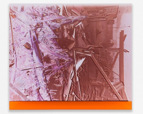 A photograph of broken wood, reverse-printed, in purple and orange hues