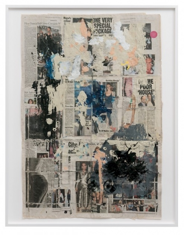 An assemblage of newspaper pages that appear to provide celebrity gossip and photography. There is painting in black, white, and cream over these newspaper pages, in splotches and smears.