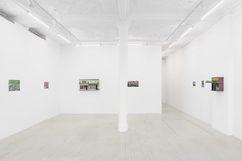 An installation image of Nicholas Buffon's exhibition, a wide view, including 7 artworks