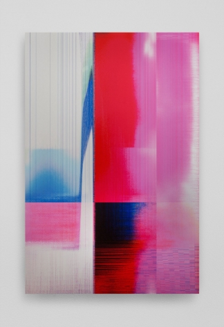 An abstract print on aluminum. There are sectors delineated in color vertically. Mostly the colors are red, pink, and blue. Some areas look like digital static of pixels. In the white third of the work at left, there are multi-colored striations vertically oriented.