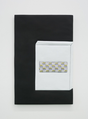 An artwork of predominantly black ground, with a square shape at right taking up the majority of the surface. There is a rectangle upon the box with a polka-dot pattern in black with small sets of black horizontal lines.