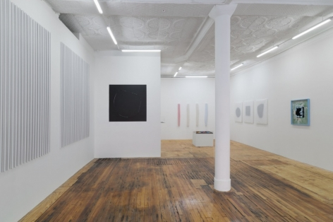 A photograph of the gallery installation from front-right