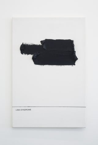 "An abstract painting in black with the words ""Lima Syndrome"" at the bottom."