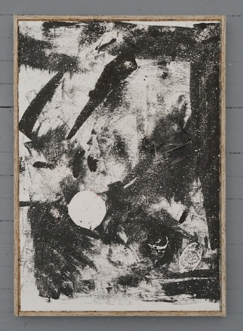 A black and white collograph print that includes layers that have been printed over to resemble folds. There are also imprints of squished cans.