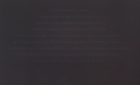 A detail of Bergvall's black ground upon her silkscreen work, where the text is legible. The text is poetry.