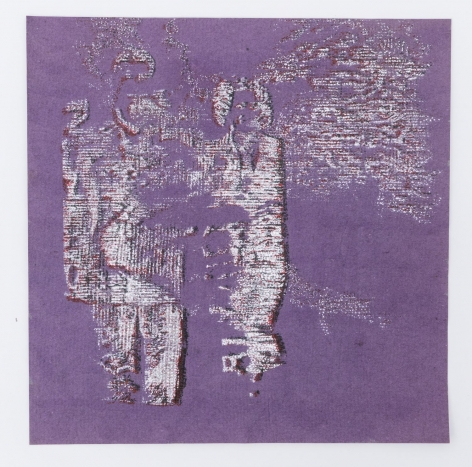 Purple paper with two ghostly figures, half-erased
