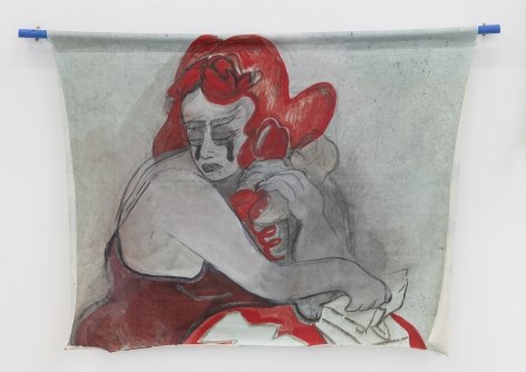 a painting in red and green colors showing a woman talking on an old style phone with heavy tears falling from her eyes