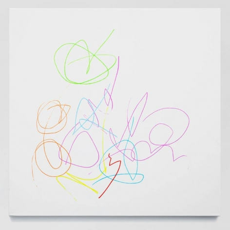 A painting of multicolored squiggles on a white canvas