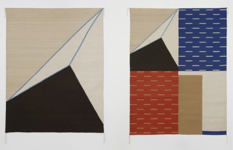Two wool rugs with geometric shapes upon them, mostly triangles