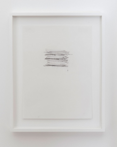A composition of horizontal lines, where the middle line and bottom line are darker than the rest. It appears to be a doodle of sorts, very gestural. It is just higher than center of the page and the whole work is framed in white.