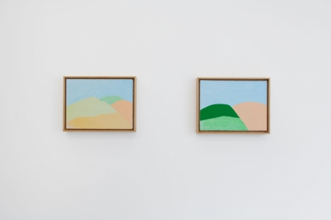 A photograph of 2 technicolor abstract paintings hung on the wall