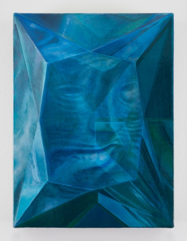 A painting of a face laughing, seemingly encased in a diamond which refracts and mutates the features of the face itself. It is painted in blue and black tones.