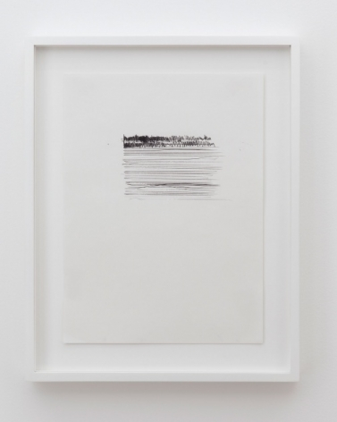 A drawing on paper that depicts a small block of horizontal lines in the top-center of a page. The top 1/6 of the lines are thick and somewhat cross-hatched. The work is framed in white.