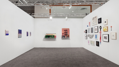 An installation view of the entire booth