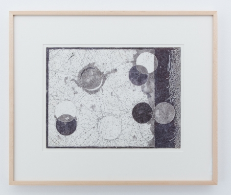 A framed black and white drawing. There are 8 circles upon the page, upon a mostly white background with gray splotches. There is a border on the right side that is mostly black with wisps of white emerging from the right. edge