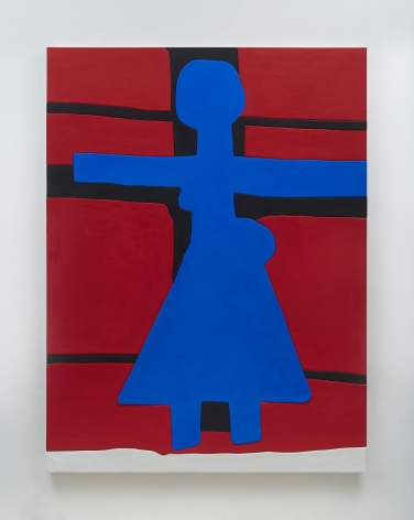 A photograph of a predominantly red surface with a blue figure shape in the center, arms outstretched, with a triangular bottom section. There are black lines that define a cross behind the figure.