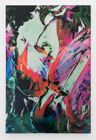 A abstract print on aluminum that has bright colors (red, pink, moss green, cerulean blue, sea foam green) that summons images of light refracting off a jagged surface. The image depicts contours that come from an unknown place.