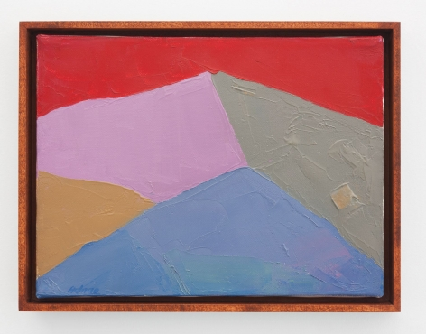An abstract mountain painting in red, purple, blue, grey, and orange