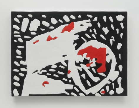 A photograph of an artwork with a black background. In white are small blobs throughout, and there are small areas of red that appear like splotches of blood.