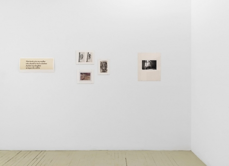 A photograph of 5 artworks on the temporary wall