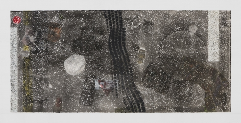 A collograph print in black and white ink, with a pool of silver ink, and various collaged elements embedded in the surface