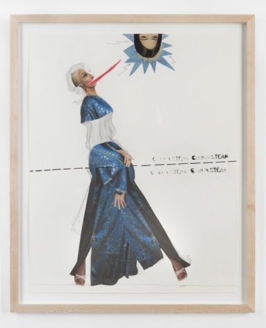 A photo-collage with a natural wood frame. There is a female body at the top with a pencil body drawn in. At the bottom are legs with a blue dress between them. There is a dotted line in the center of the image. At the top is a female head with a starburst around it at the top-right.