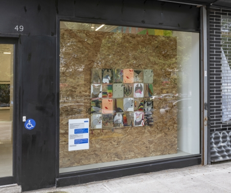 Image of gallery storefront with a plywood wall in the large window onto which paintings on cardboard are mounted. View from the left.
