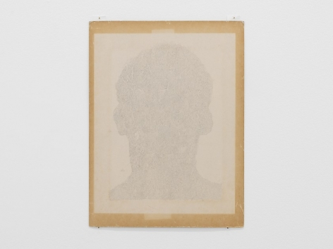 An drawing on paper that is framed by the chipboard that the paper is glued to. The drawing itself is a silhouette of a human head defined by abstract shapes and lines.