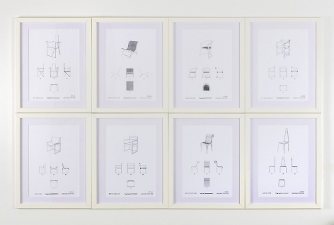 A group of 8 chairs, drawn on white paper, designed by Geoffrey Bawa over his lifetime, with all angles depicted