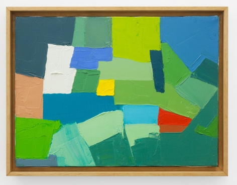 An abstract technicolor painting of green, blue, yellow, red, white, and beige.