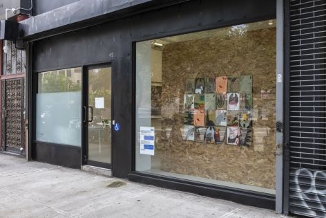 view from the right showing the installation in the storefront window