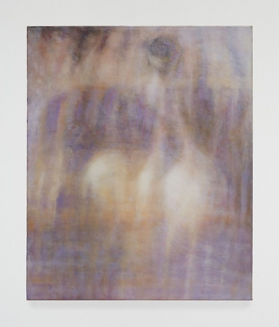 Abstract painting in shades of purple with cream-colored forms