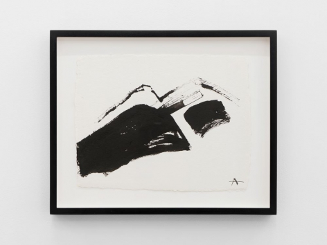 An abstract painting of a mountain pack, colored in with black ink with impartial brushstrokes defining the shape