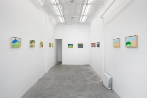 A photograph of the entire gallery from the front: 12 technicolor paintings hung in a single row