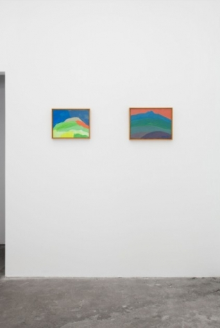 A photograph of 2 framed abstract landscapes installed on the wall