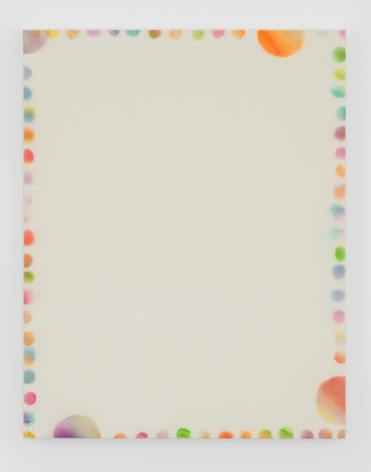 A painting on cream ground. There are multi-colored dots lining the edge of the canvas. There are 4 semi-circles coming off the edges that are larger than the other circles. They are light purple (corner, top left), purple (bottom), orange (right) and orange (top-right).