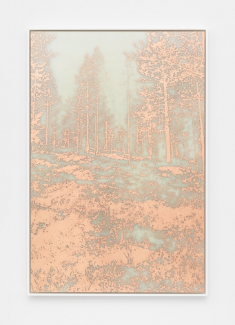 A photograph of a photo-etching made from copper, where the image is a heavily-wooded landscape with all positive space defined in orange copper. The background looks like a cloudy grey-green.