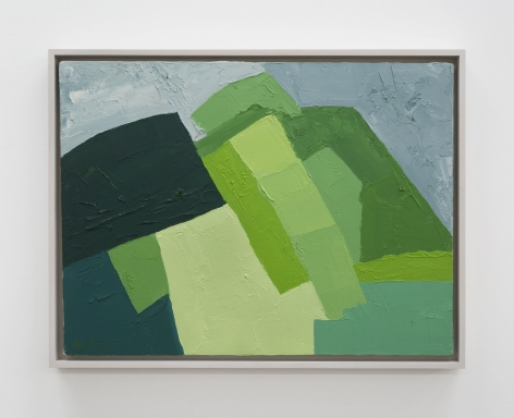 An abstract composition of a mountain in varied hues of green and blue (for the sky)