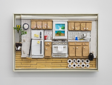 A sculptural depiction of the artist's kitchen with compressed space.