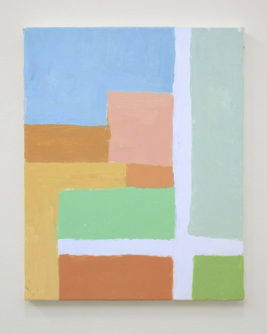 An abstract painting of squares and rectangles in tones of blue, green, orange, brown, and white