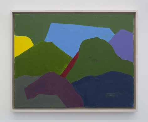 A painting of an abstracted mountain landscape. The image is made up of predominantly moss green tones, as well as purple, yellow, and blue.