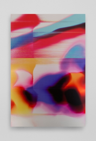 A print on aluminum. The bottom half of the vertical work is mostly organic shapes, seemingly merging into one another. The shapes are overlapping, in colors of yellow, red, purple, pink, orange, and black. The top half of the work has striations that resemble static on a television in horizontal lines. The colors there are red and blue.