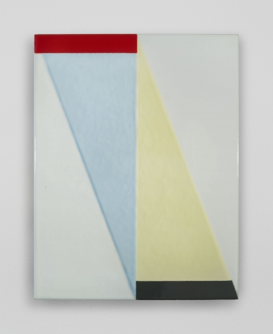 An enamel painting with a central vertical axis, and triangular shapes in baby blue, yellow, seafoam, and off-white. There is a black line at bottom.