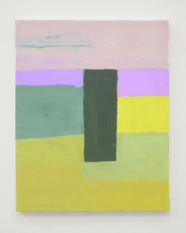 Abstract composition with a green rectangle and hues of green, yellow, pink, purple.