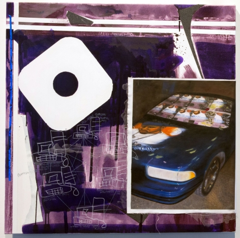 painting in mostly purple colors showing a network of computers tied together with squiggles and the hood of a car with a mans face painting on the hood