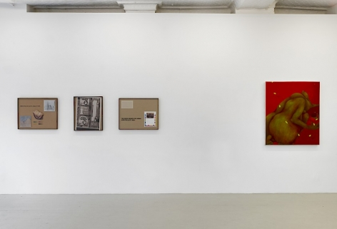 An installation view of 3 collages by Lyndon Barrois Jr., and a red painting of a figure crouched over by Ranee Henderson